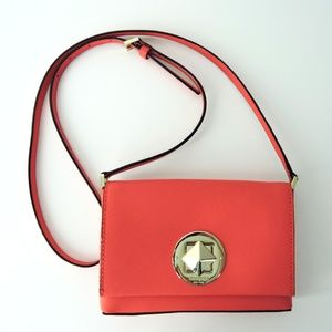 Kate Spade Pink Coral Saffiano Leather Cross body